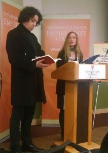 Nicola Marae Allain reading with French poet and philosopher Philippe Beck in April 2015.
